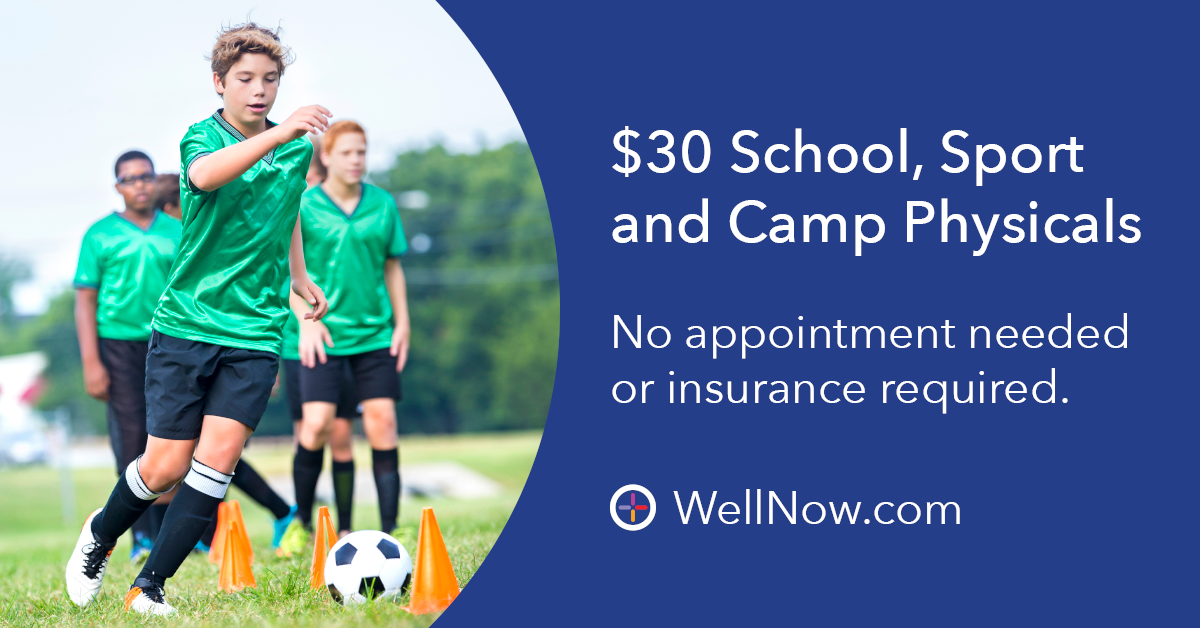 WellNow locations are proud to take the worry out of your student's annual paperwork with affordable, walk-in physicals for school, sport and camp – no insurance needed.