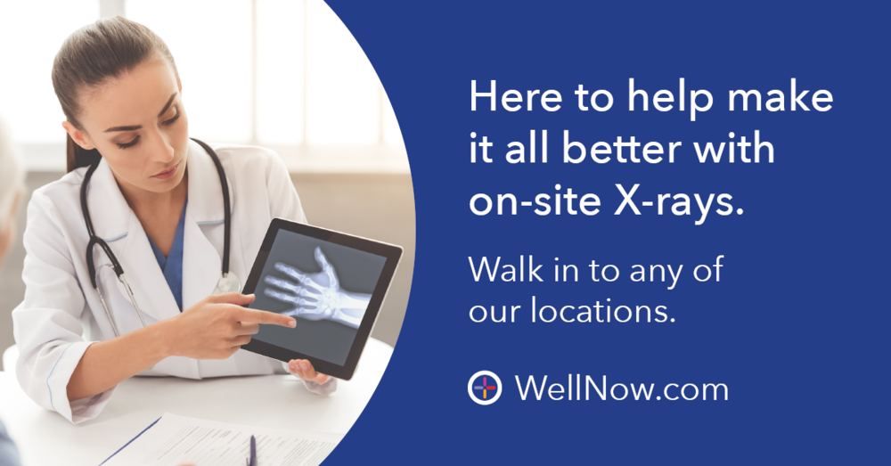 On-site X-rays  • Take the guesswork out of your condition with WellNow Urgent Care and their on-site X-ray services - with no appointment ever needed. Walk in or check in online today.  • Walk in or check in online to your nearest WellNow Urgent Care facility for on-site X-rays and take the guesswork out of your condition.