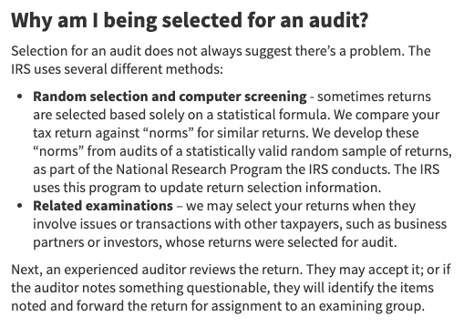 Source:    https://www.irs.gov/businesses/small-businesses-self-employed/irs-audits#audit-selection