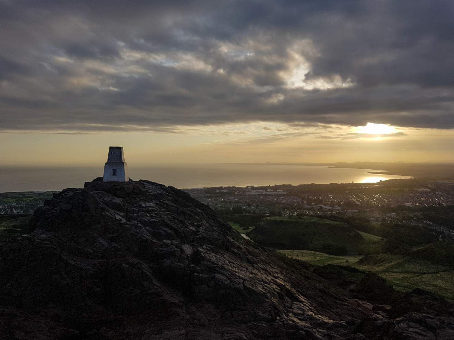 The trig pillar crowning Arthur's Seat