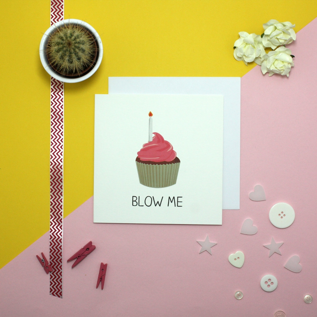 Laura Rose   laura was previously an intern at jollysmith back in 2012. when put on a project during her internship she was asked to produce a selection of cards and designed to great cards including the 'blow me' card above.