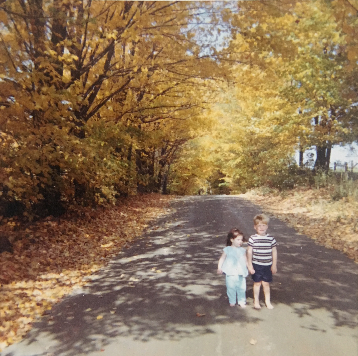 Anne and Charles Tracy go for a walk on an autumn day, 1971