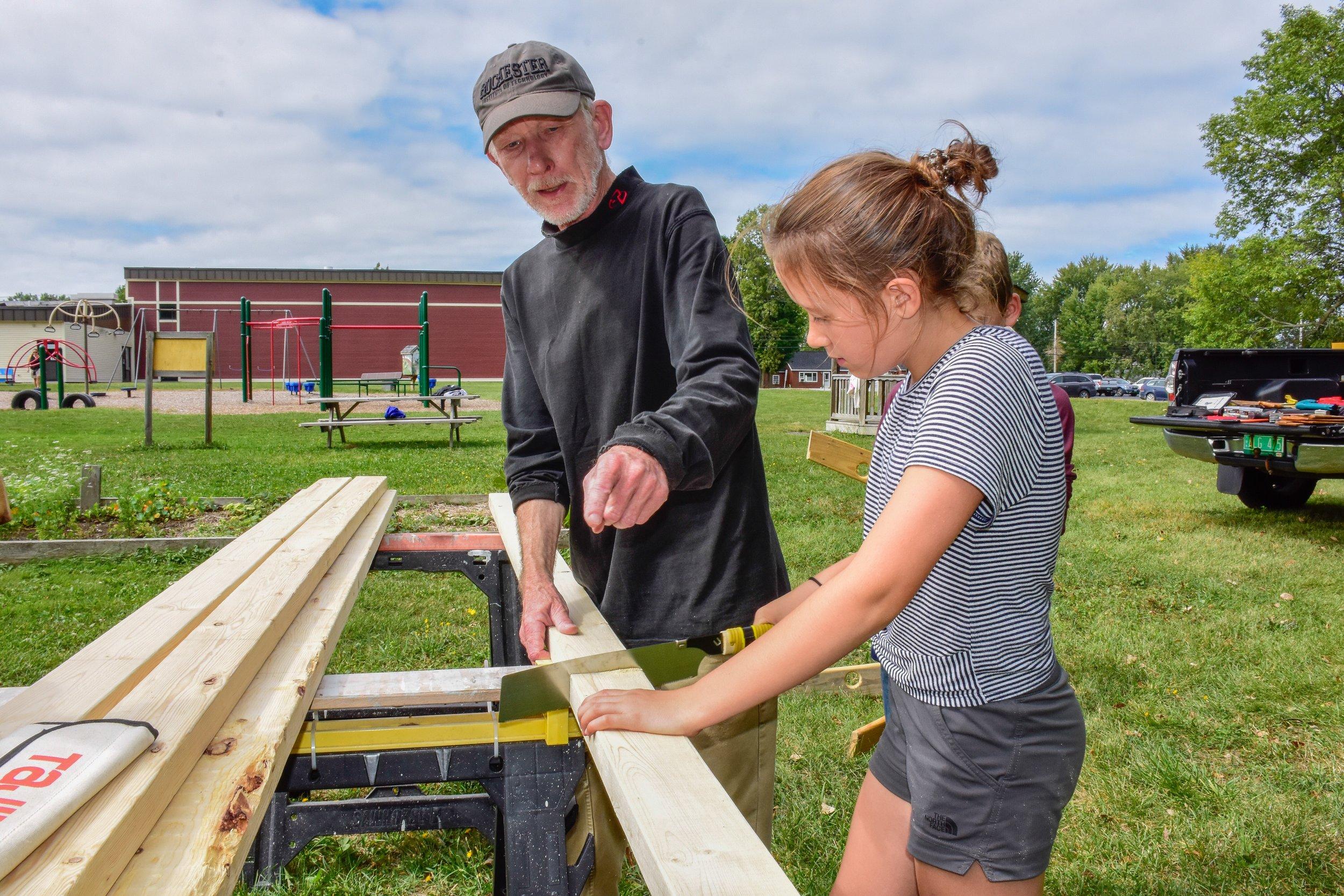 sawing lumber