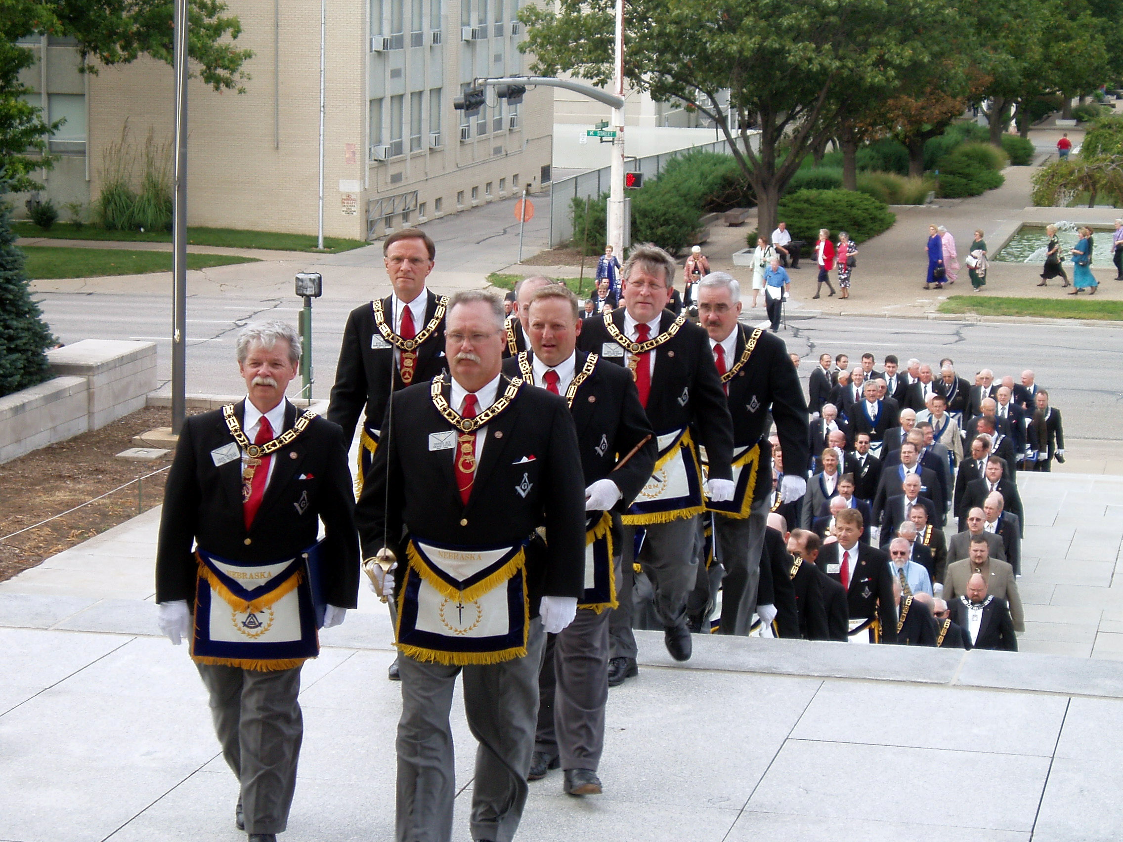 Grand Lodge officers celebrate the 150th anniversary of Freemasonry in Nebraska in 2007.
