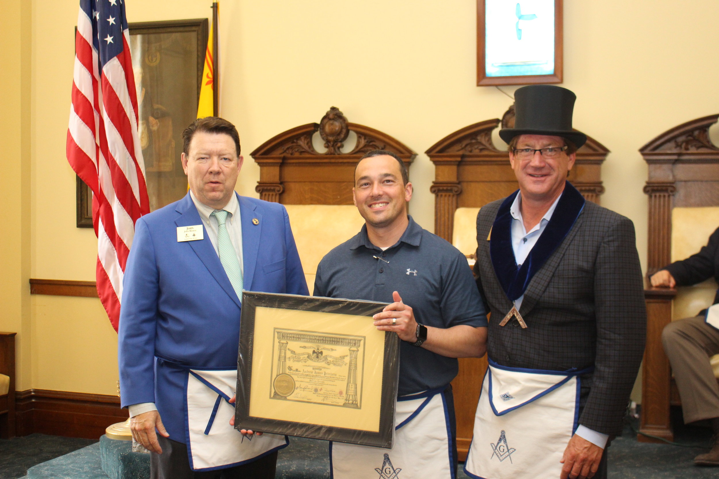 John Maxell, General Secretary for the Scottish Rite, Brother Andrew Privitera, and WB Charles Sederstrom III, Worshipful Master of Albert Pike Lodge #333