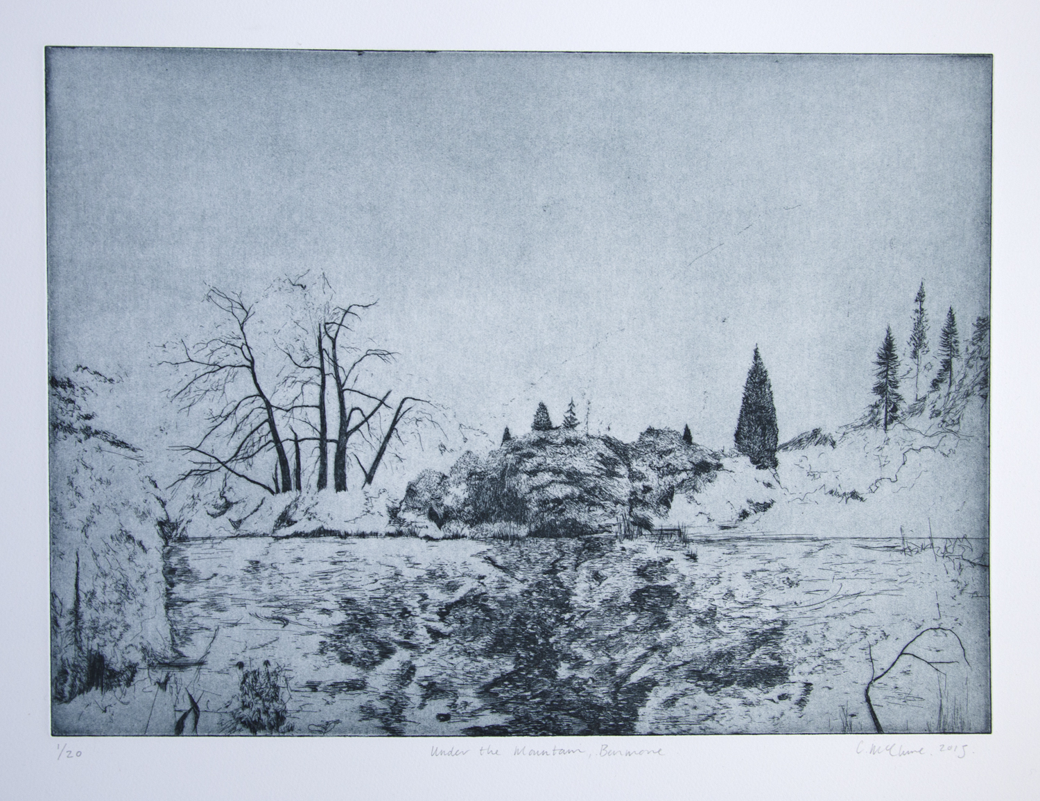 Under the Mountain, Benmore, etching, 2015, 35 x 48.5 cm, £500