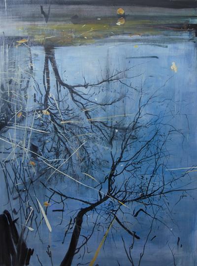 Two Tree Reflections, Planten un Blomen, oil on board, 2013, 70 x 60 cm, £3,900