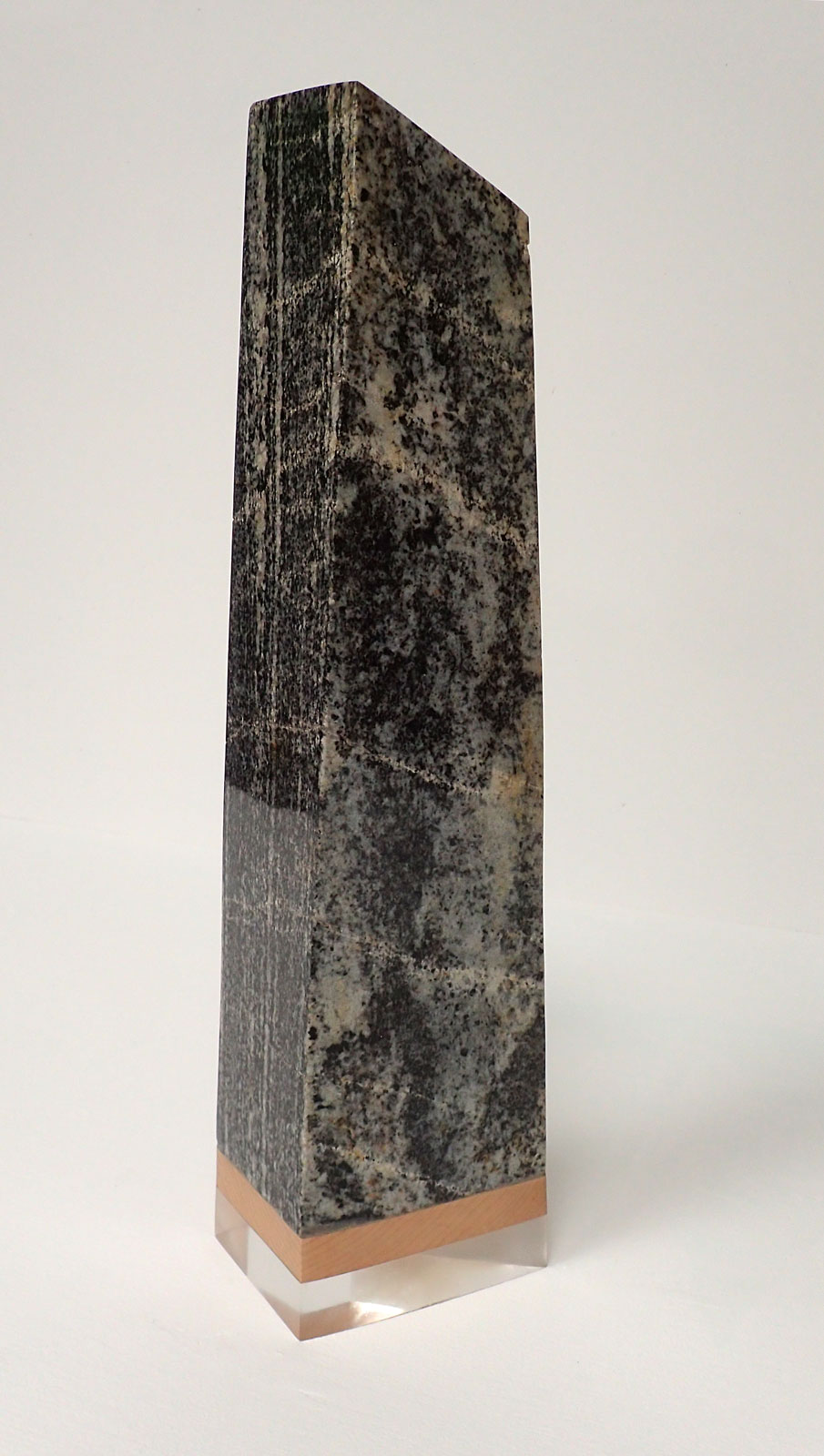 Standing Stone - 2017, Lewisian gneiss, hardwood and acrylic, 54 x 16 x 10 cm – 10 kg. £1300