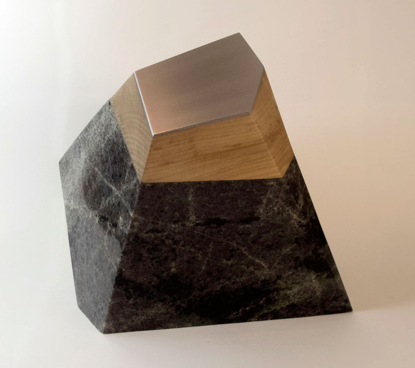 Fragmented Earth II - 2017, Lewisian gneiss, hardwood and aluminium, 30 x 40 x 34 - 35kg. £1950