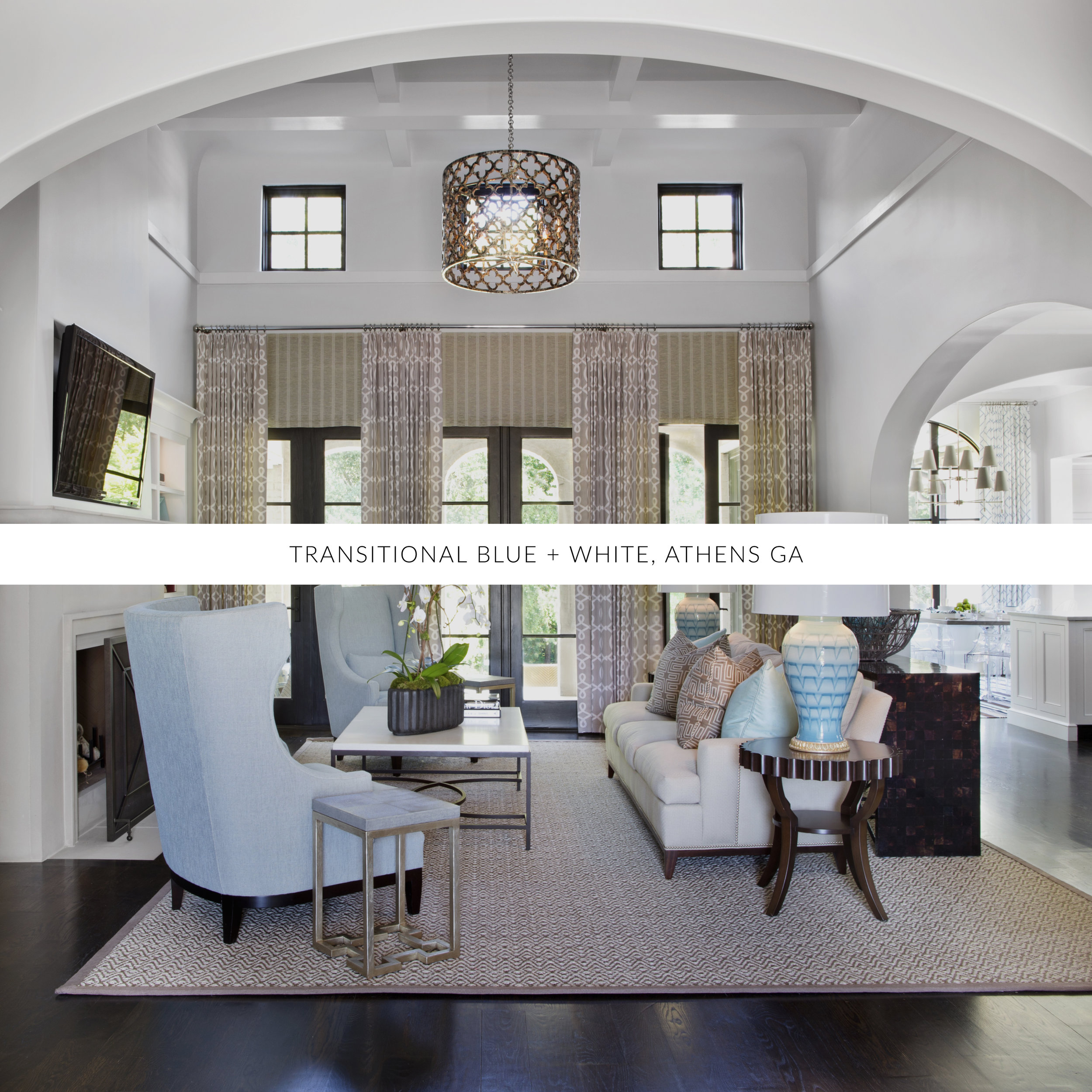 © Transitional Blue & White, Traci Rhoads Interior Design, Private Residences and Golf &Country Clubs, Athens, GA
