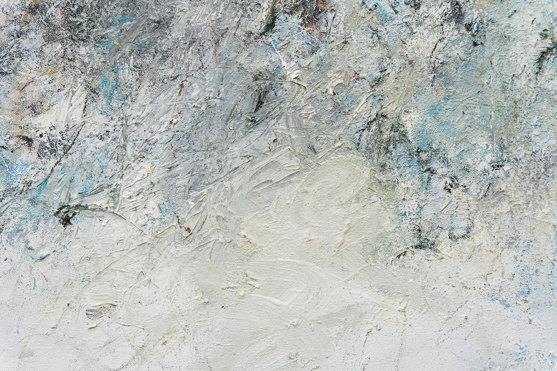 "Moraine  (detail) 2017 oil, enamel, paint stick, acrylic, charcoal, and graphite on canvas 72 x 60"" / 183 x 152 cm"