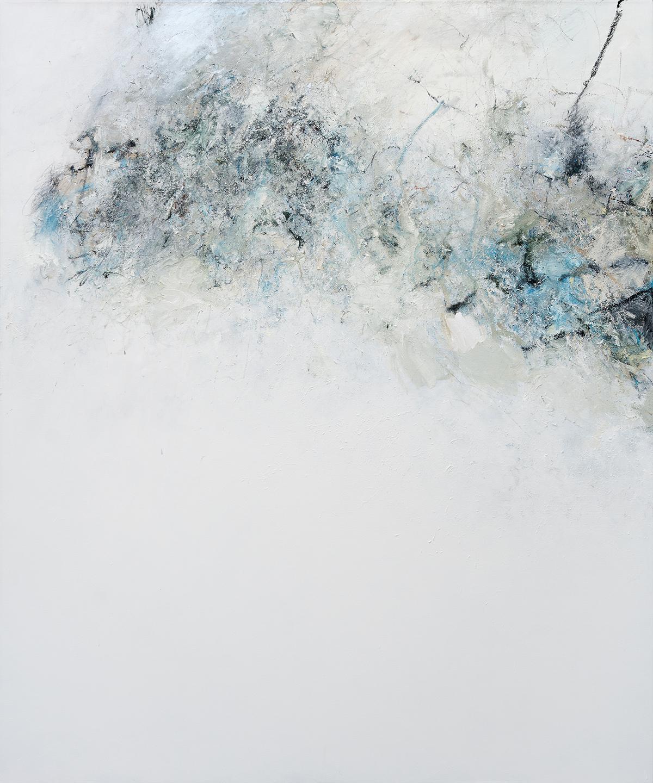 "Moraine  2017 oil, enamel, paint stick, acrylic, charcoal, and graphite on canvas 72 x 60"" / 183 x 152 cm"