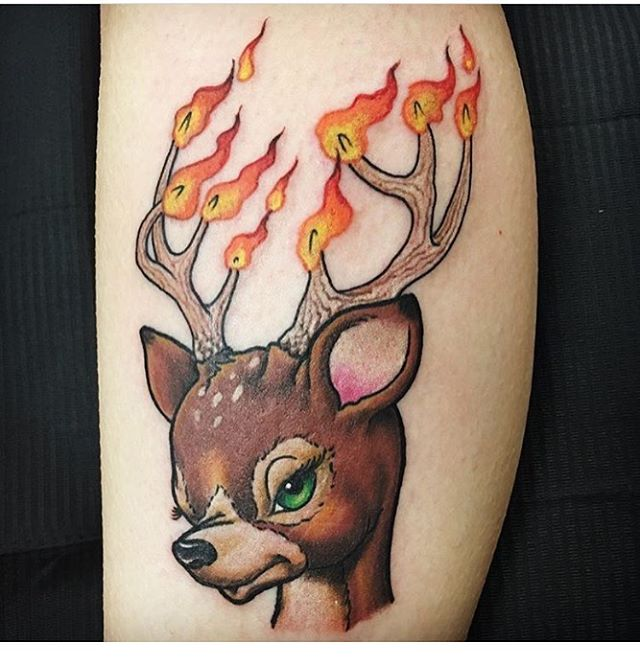 Deer tattoo done by @troyjohnsontattoo
