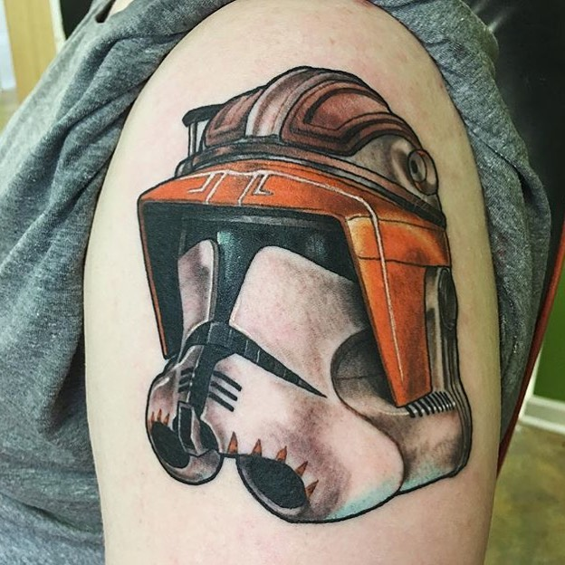 Stormtrooper helmet done by @troyjohnsontattoo