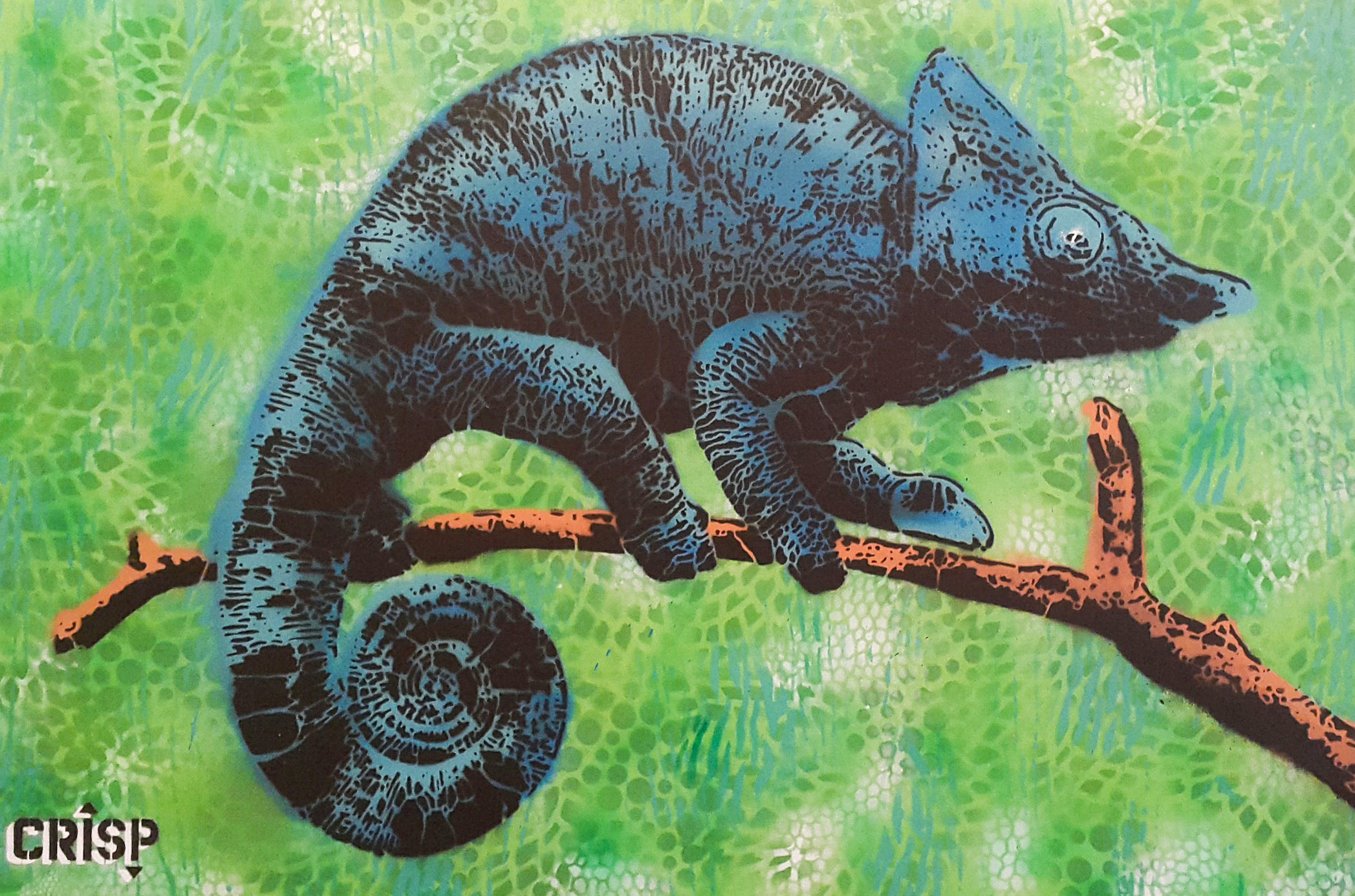 Chameleon (2017) - 70 x 90 cm - Pintura en aerosol sobre lienzo / Spray paint on canvas