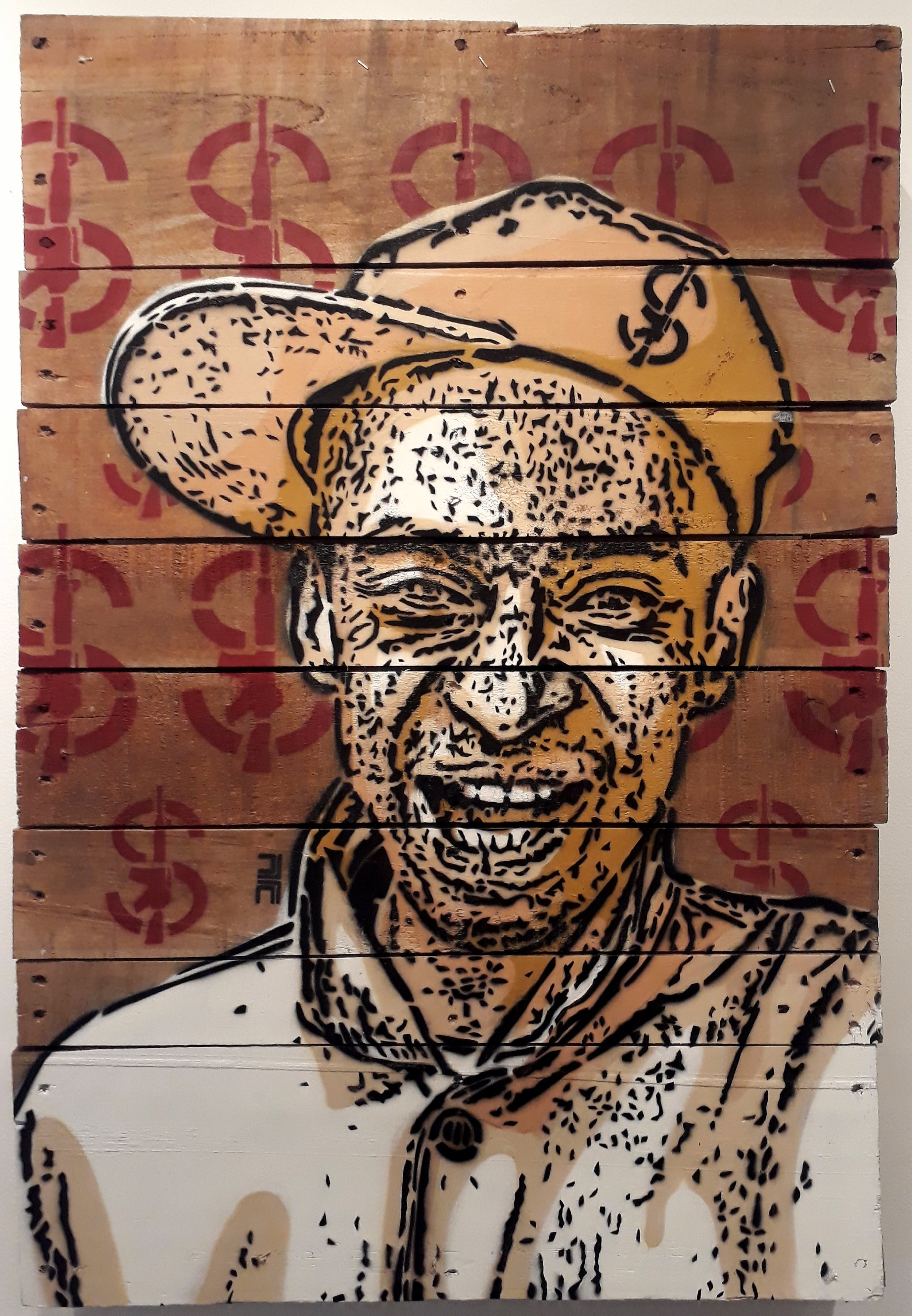 Willy Gamez (2018) - 92 x 62 x 12.5 cm - Stencil sobre paleta de madera / Stencil on wood pallet