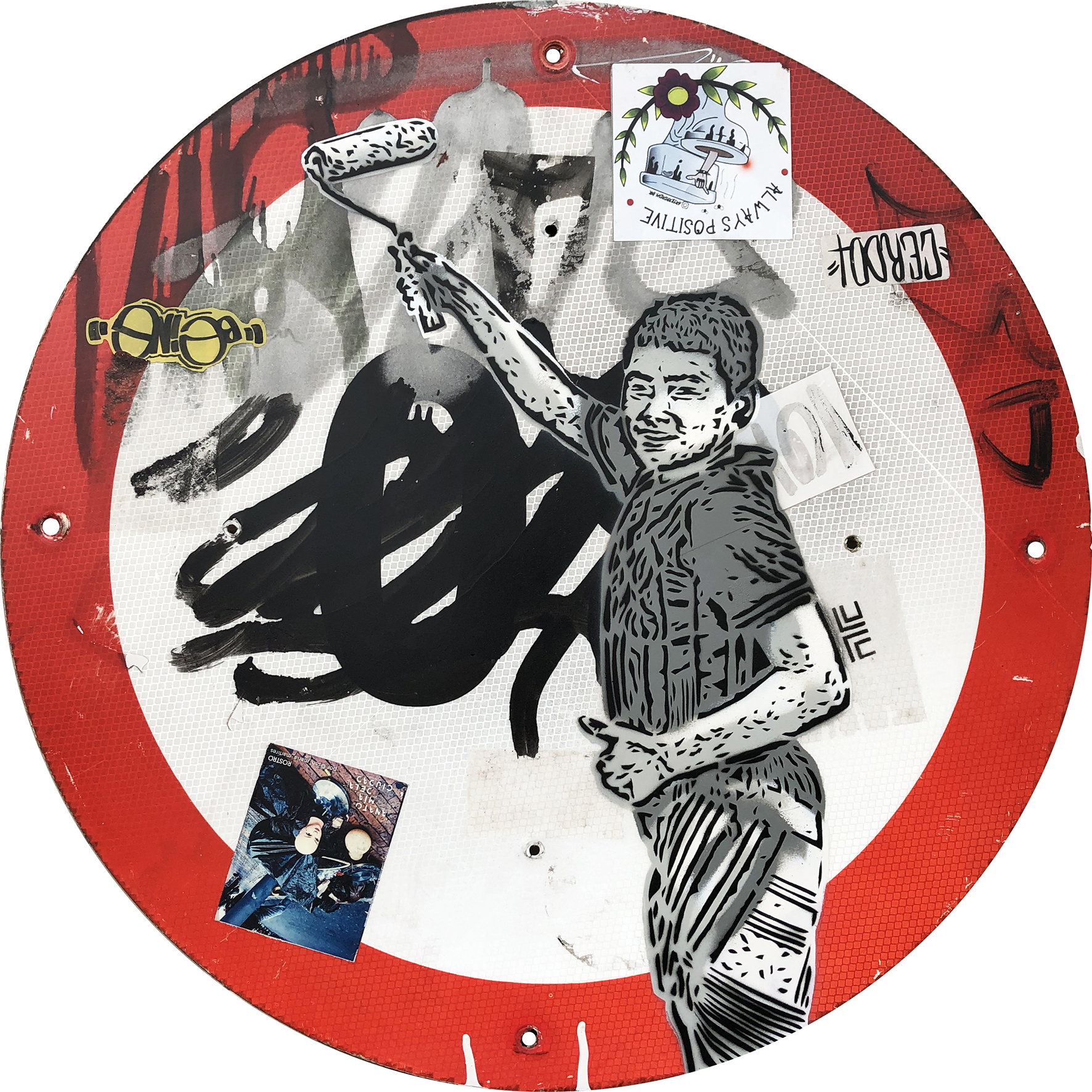 Niño pinta. de la serie Orgullo de calle (2018) - 60 cm diámetro - Stencil sobre señal de tráfico / Stencil on Traffic sign
