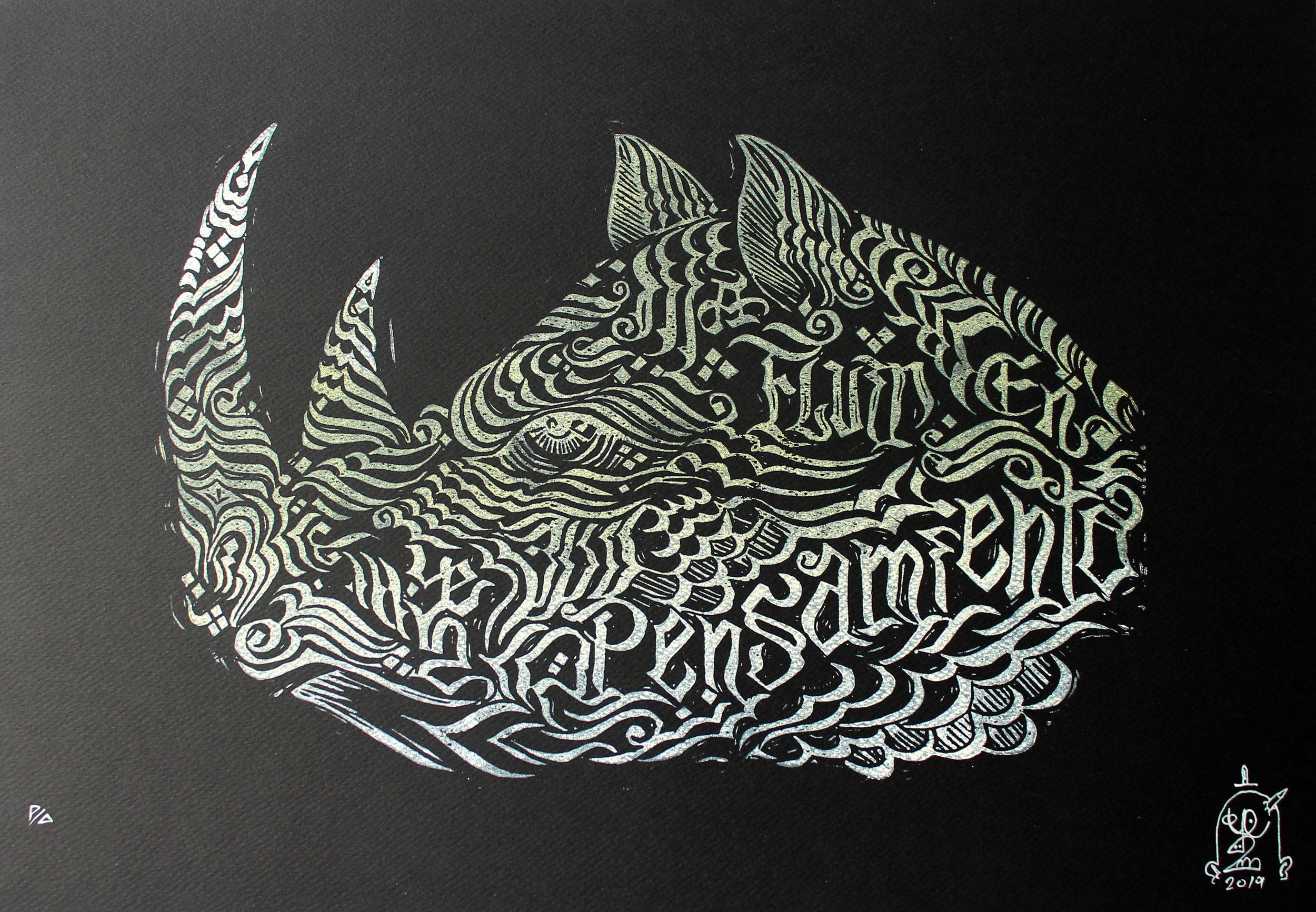 Rino (2017) - 52 x 33 cm - Grabado en linóleo sobre papel  P/A / Linoleum etching