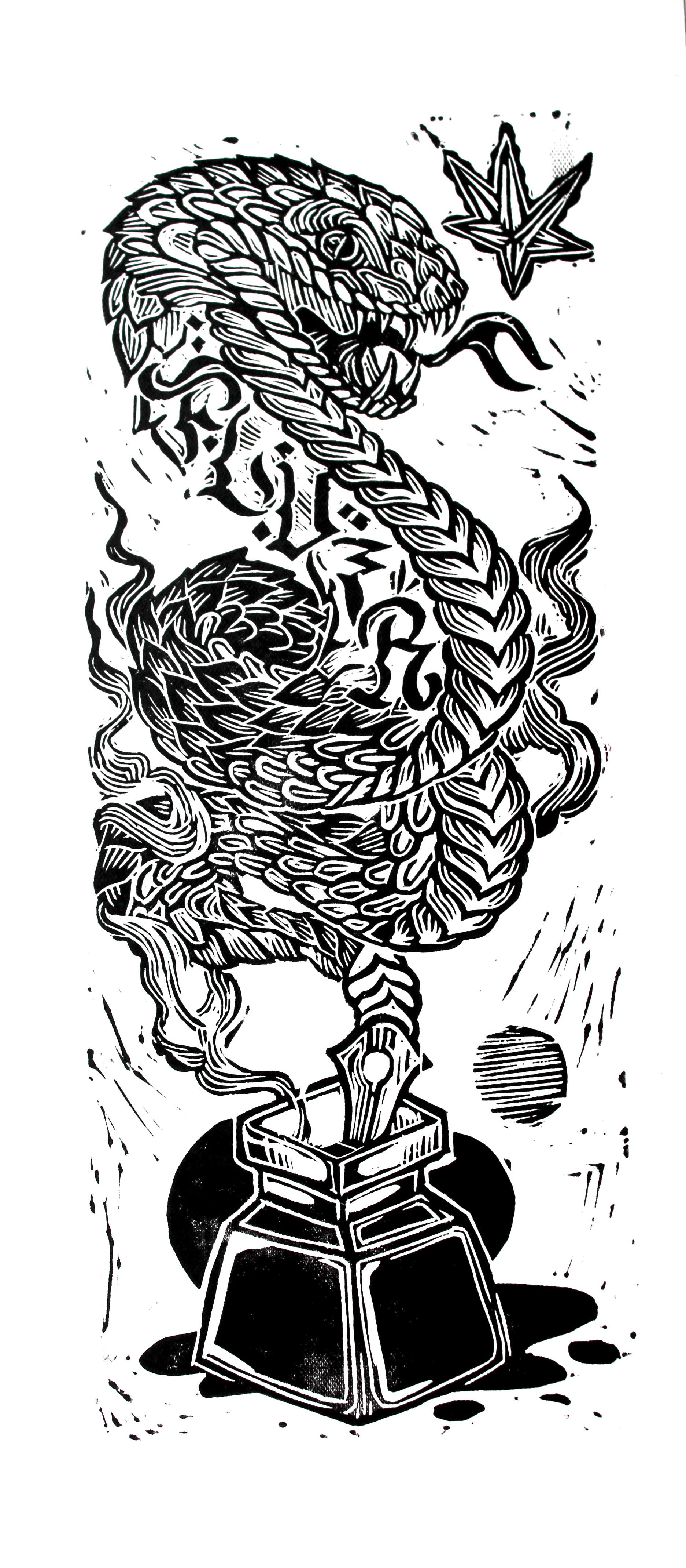 Culebreo (2018) - 50 x 18 cm - Grabado en linóleo P/A / Linoleum etchin