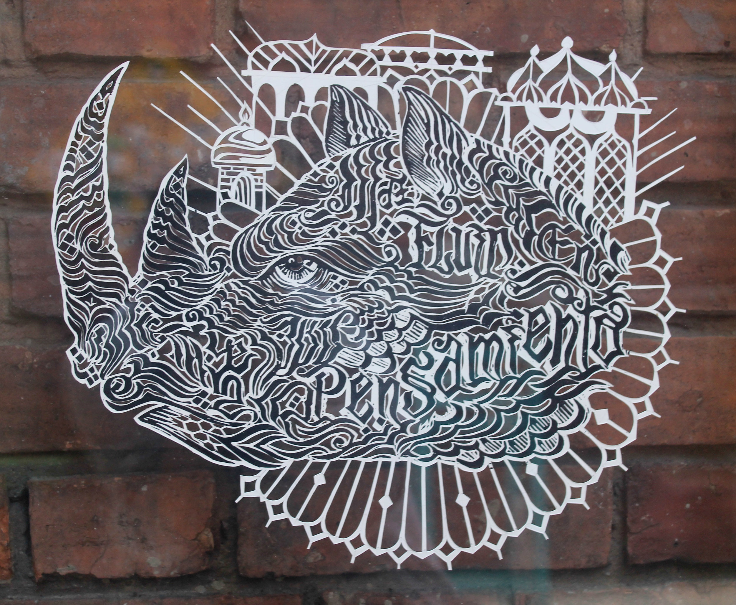 Rino Templo del pensamiento (2019) -  50 x 50 cm - Grabado en linóleo y corte a mano sobre papel / Drawing and hand cut on paper