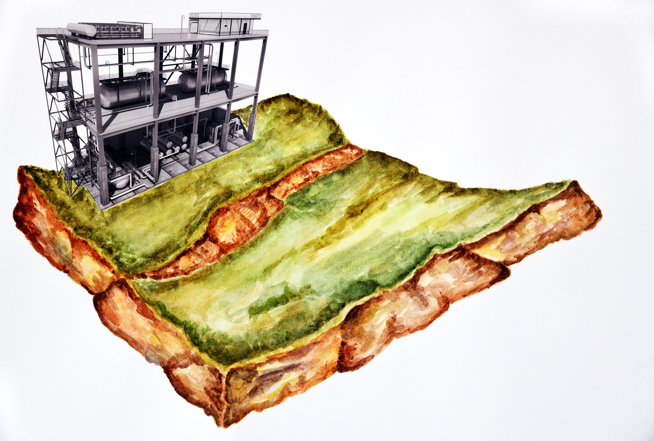 S.T, de la serie Érase un lugar (2019) -  50 x 70 cm - Acuarela en impresión digital sobre papel / Watercolor and digital print on paper