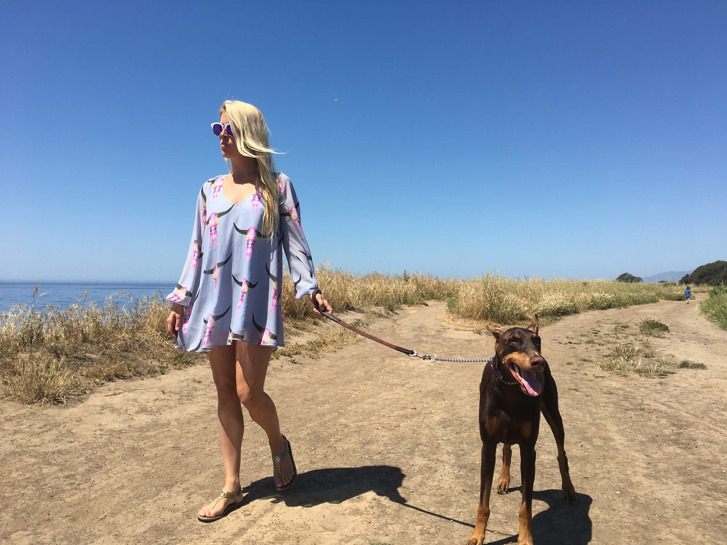 Even though I wasn't dressed for a hike, it was an easy walk! Wearing  Michael Kors jelly sandals , and Print Dress by  Show Me Your Mumu .
