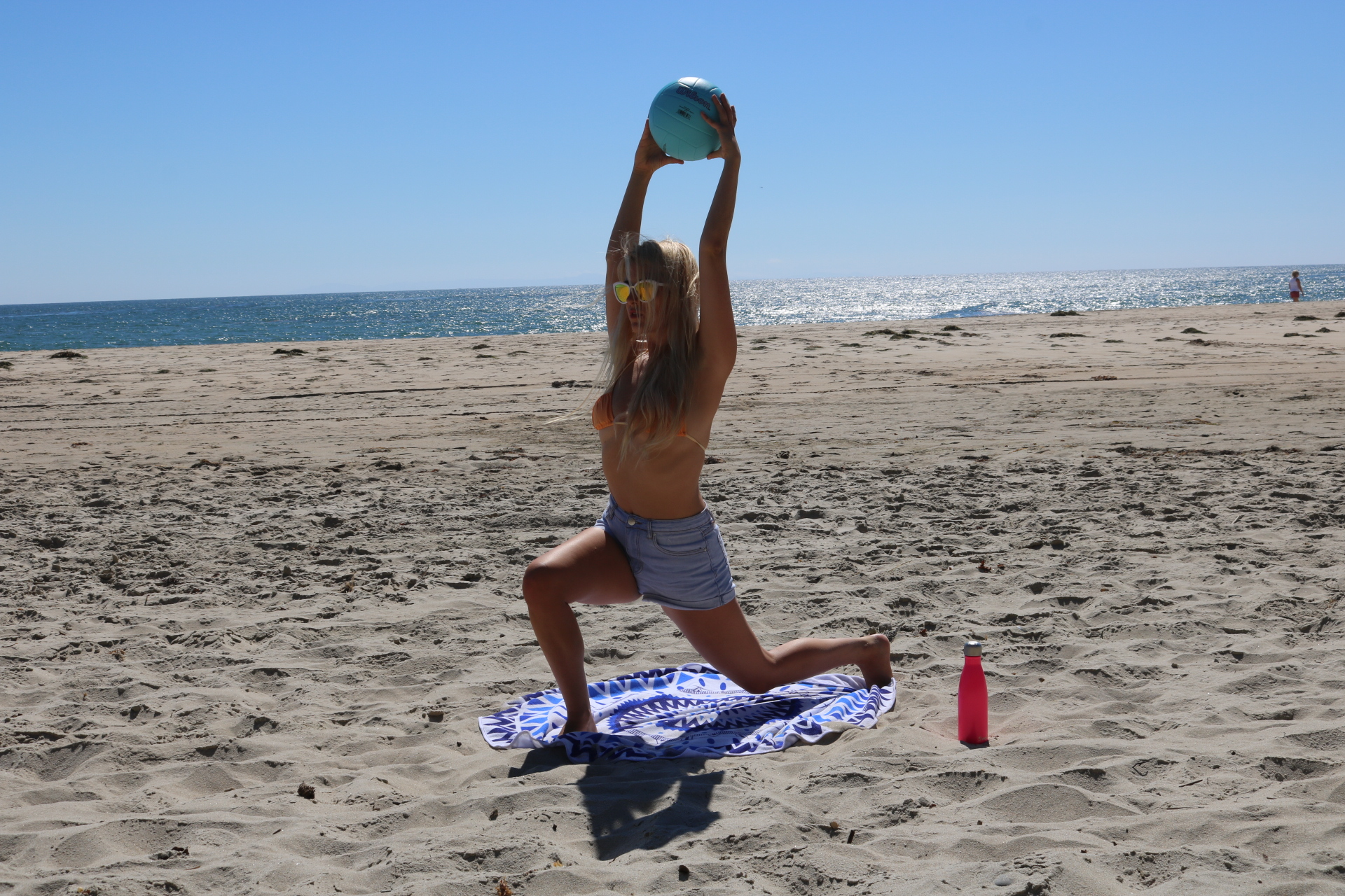 Deep lunge. Knees over toes, belly button zipped to spine.