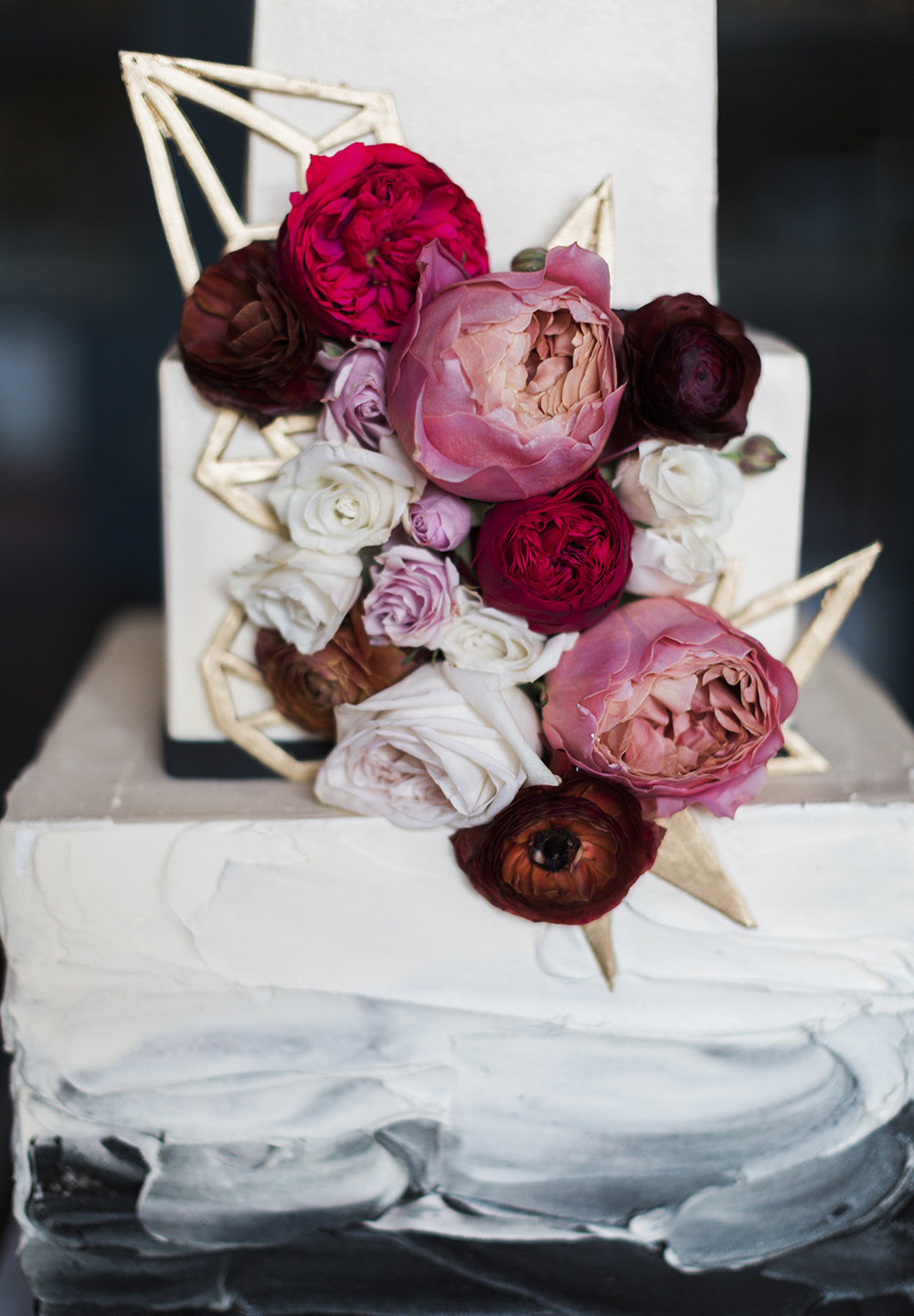 Ombre Cake with fresh flowers, and Mid Century Modern Elements.