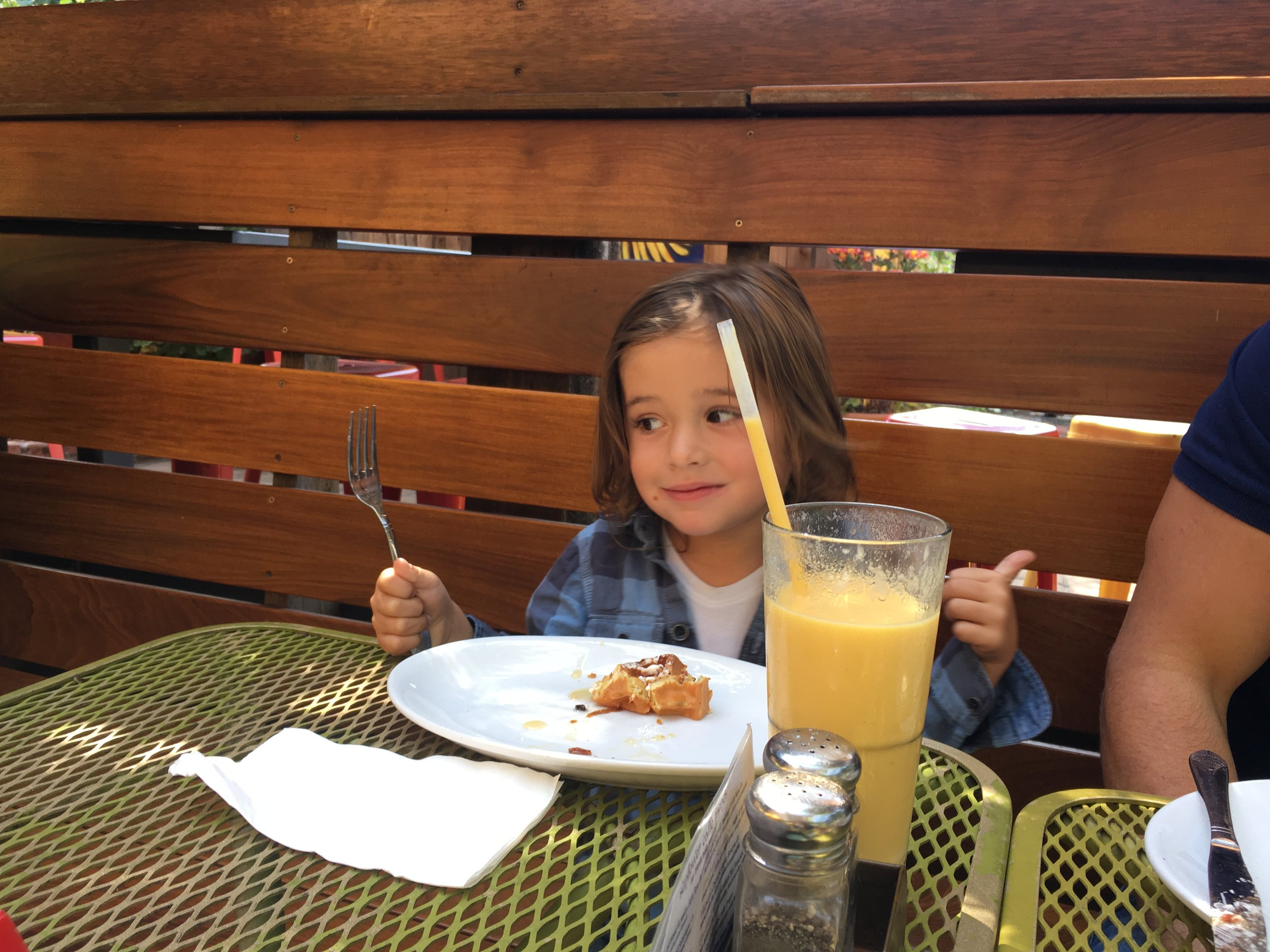 Smoothie and pancakes at Sunflower Cafe.