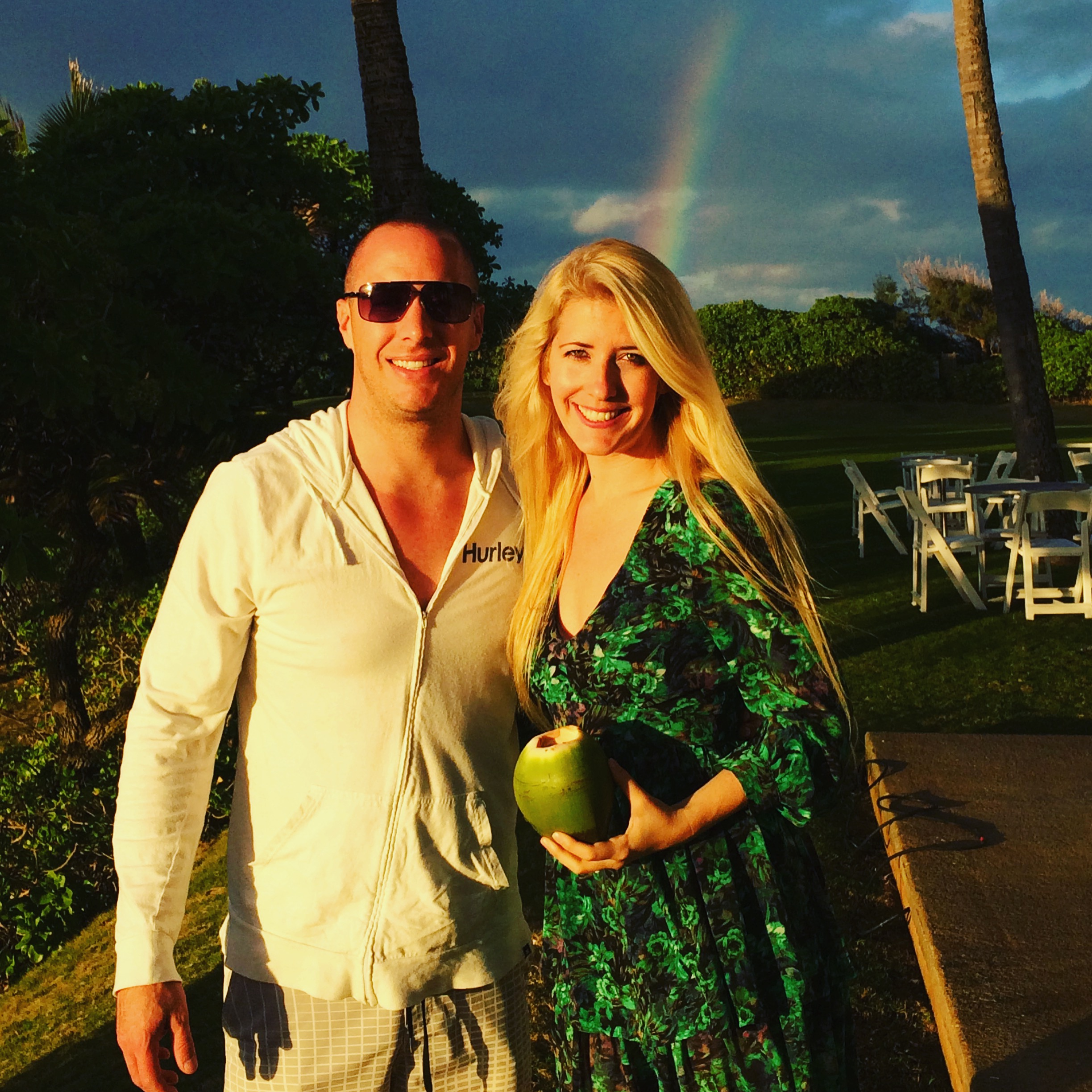 Picture Perfect Rainbow and Fresh Coconuts!