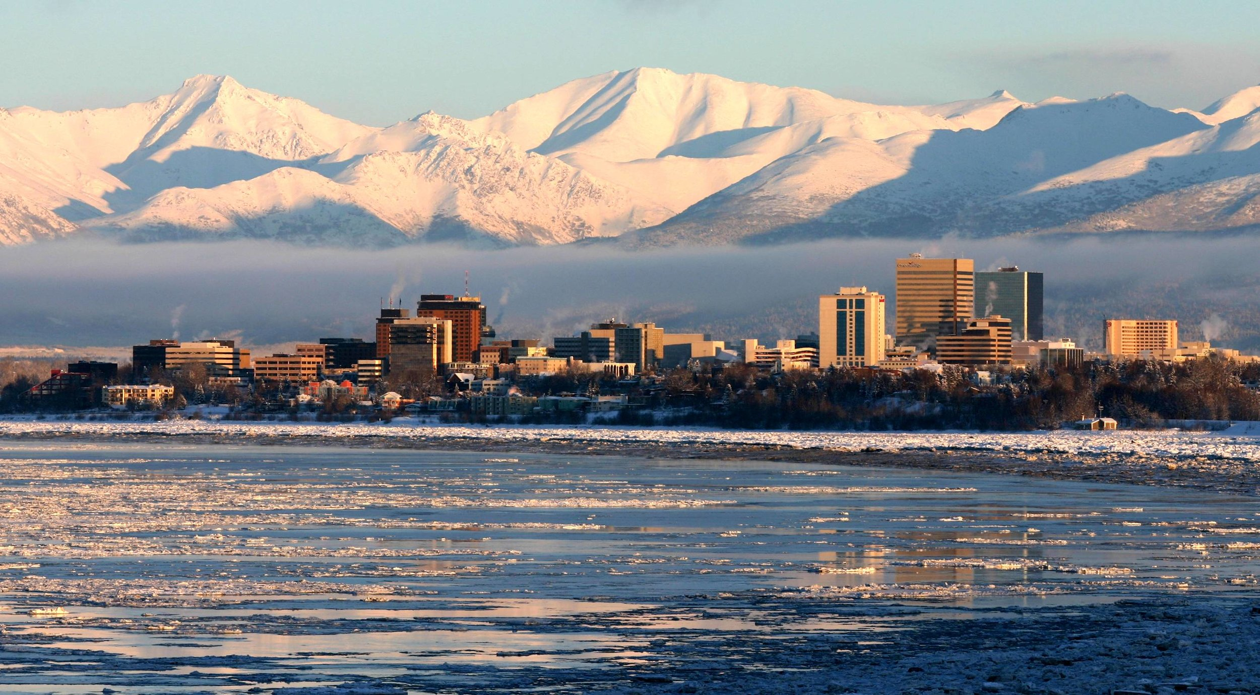 A view of the Anchorage skyline from Earthquake Park.