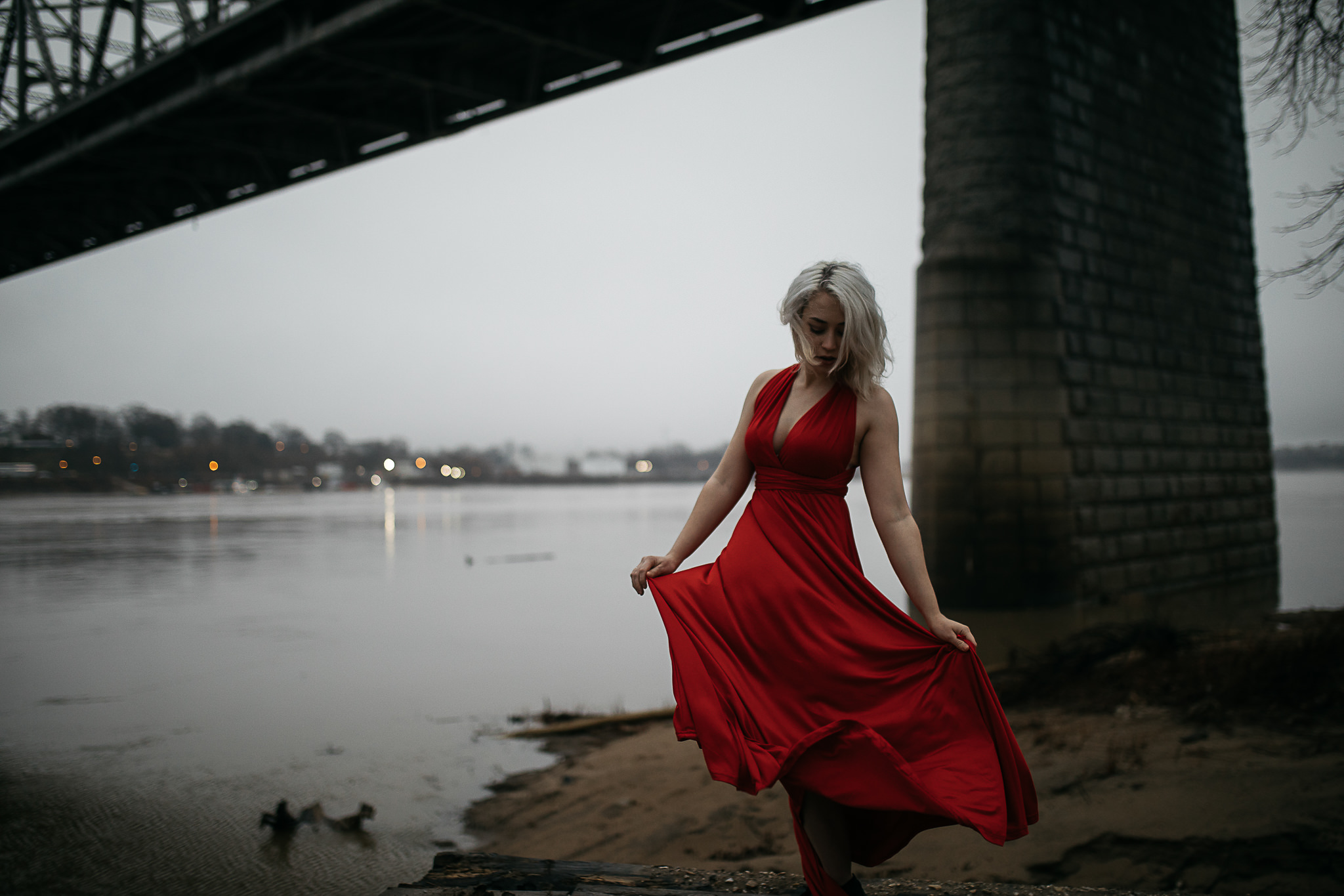 Hosanna-Memphis-Bridge-Red-Dress-Fog-2.jpg