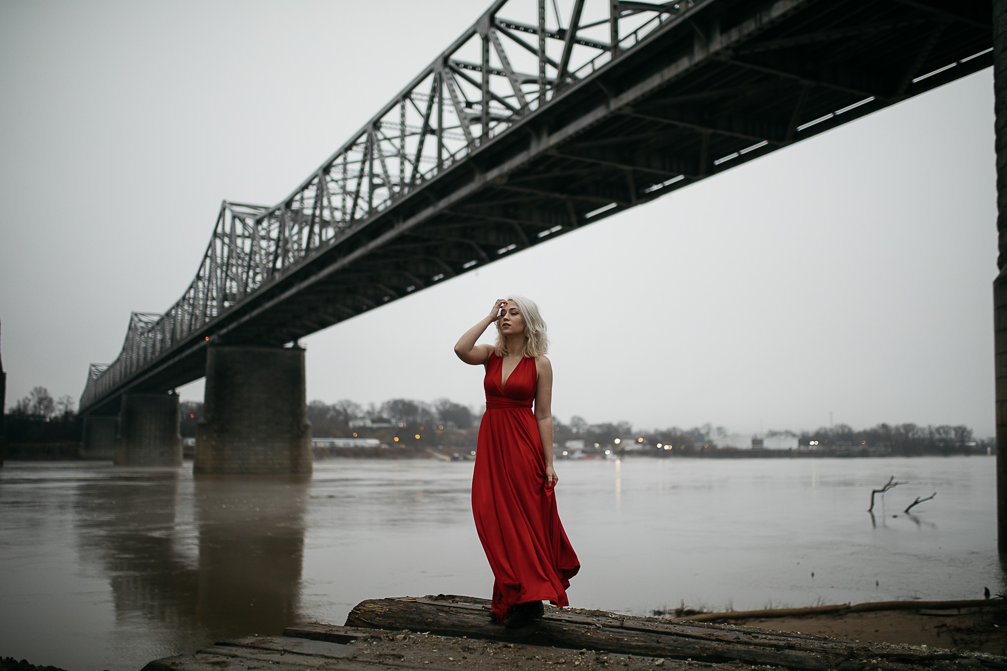Hosanna-Memphis-Bridge-Red-Dress-Fog-7.jpg