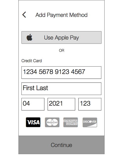 Payment Setup   This section was removed from the initial setup and placed on the home screen. Users would now be able to use the app to check balance without setting up a payment method.