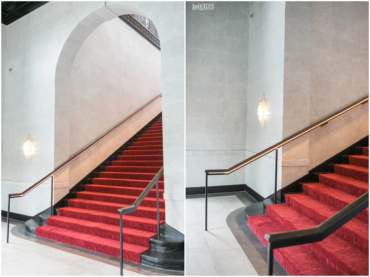 The red carpet staircase is naturally lit and sits away from the crowd- ideal for family photos!
