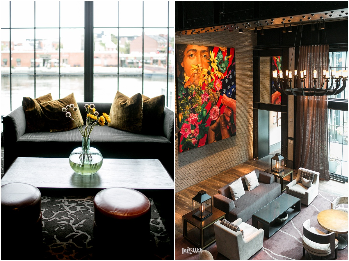 More views from the reception and lobby areas of the Sagamore Pendry Hotel in Baltimore.