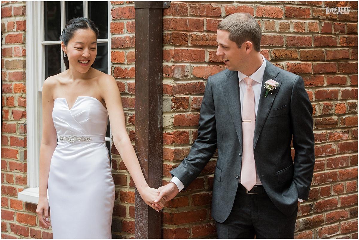 Lorien Hotel Brunch wedding first look around corner.JPG