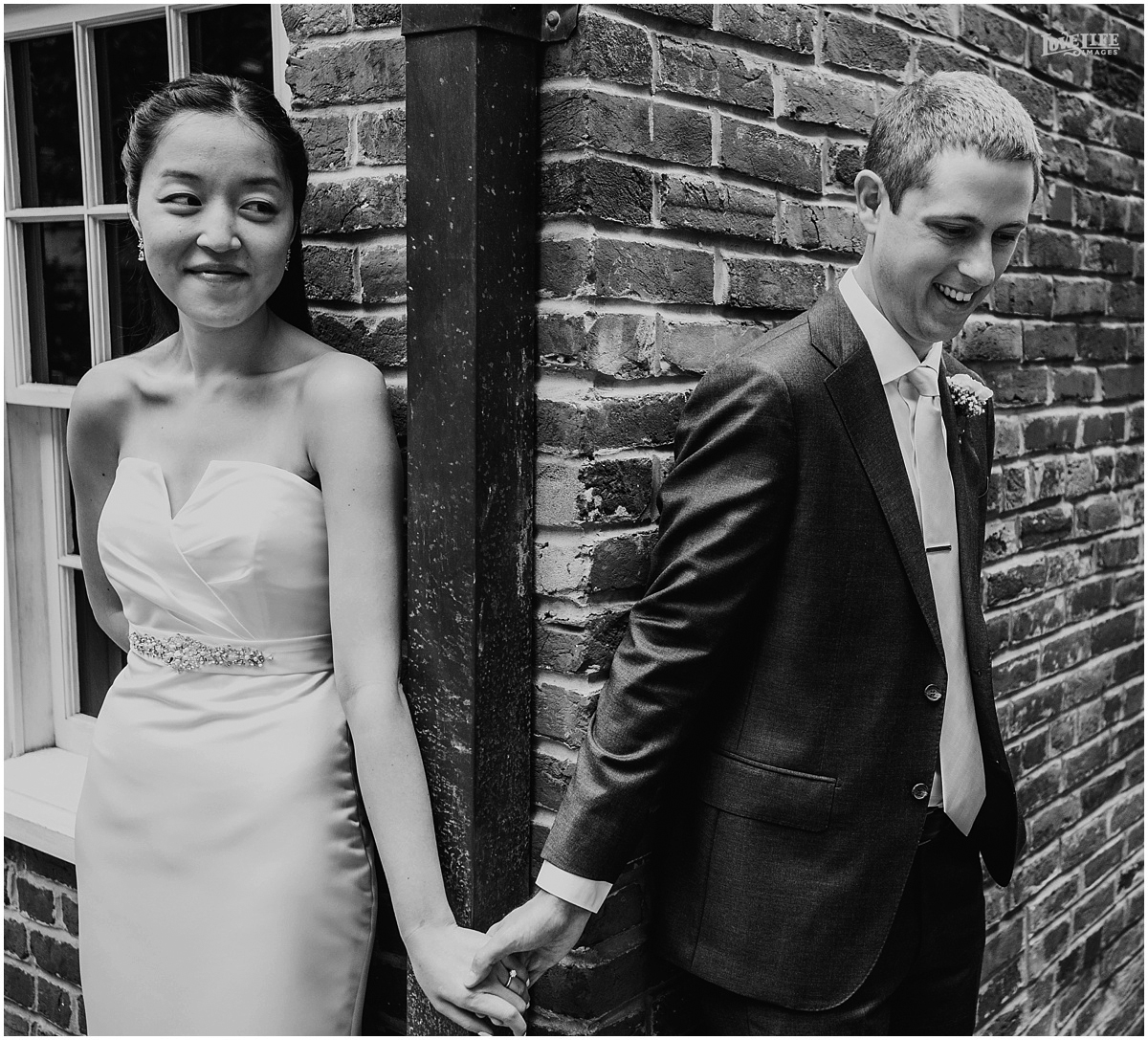 Lorien Hotel Brunch wedding first look holding hands.JPG