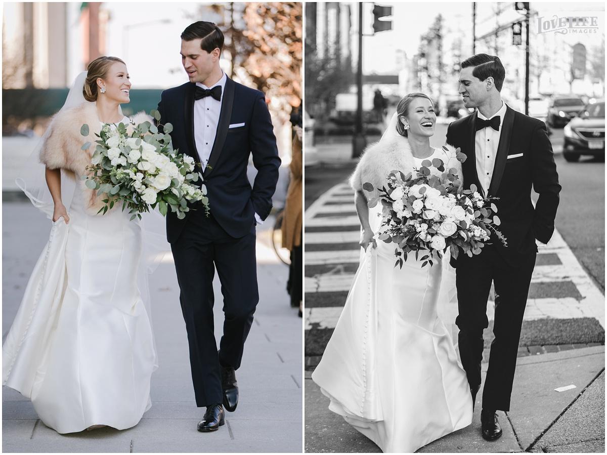 District Winery Winter Wedding bride and groom crossing street.JPG