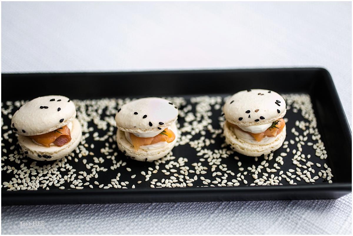 Mini Savory Salmon Macaron  Sesame White Macaron | Dill Cream Cheese | Smoked Salmon