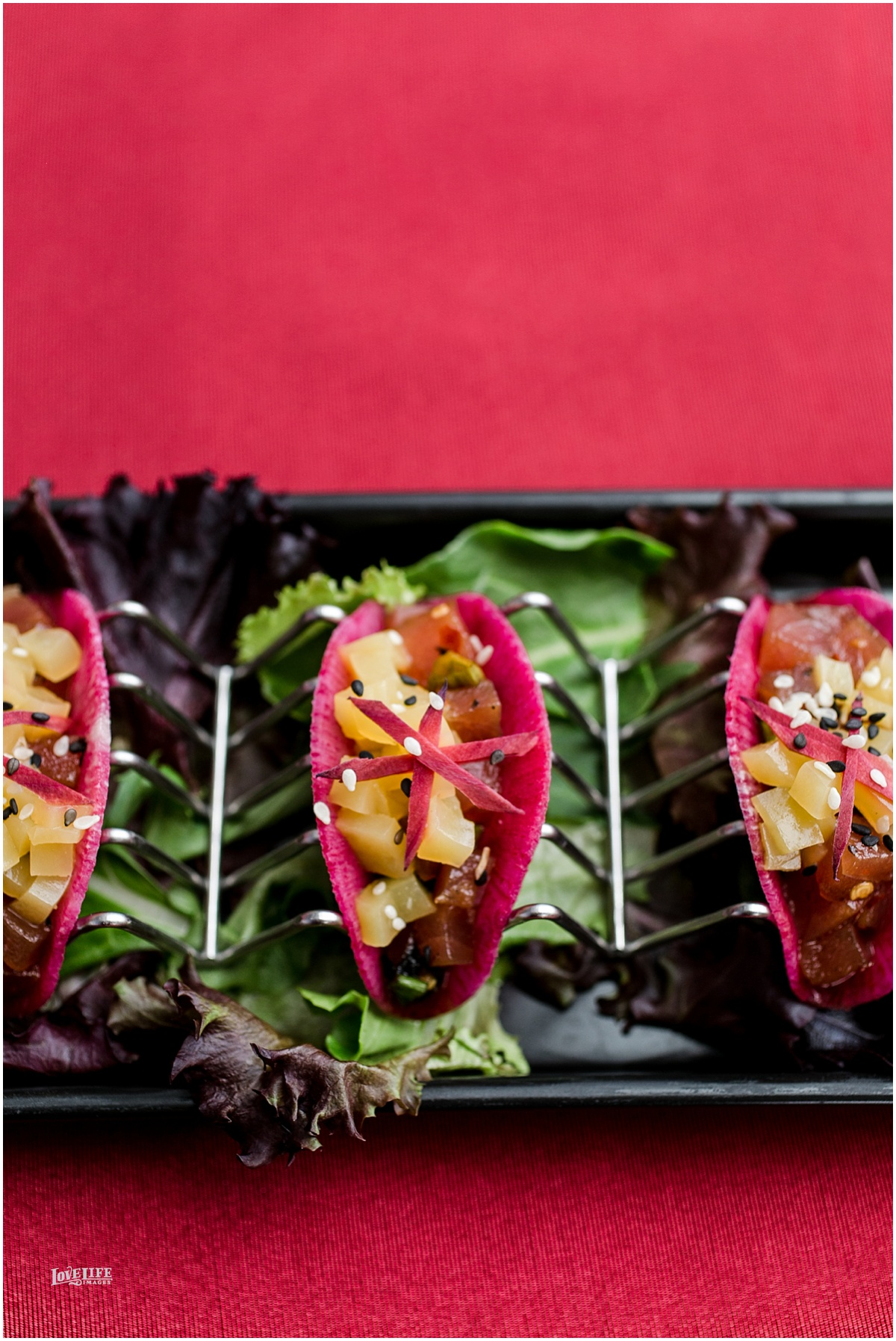 Watermelon Radish Tuna Poke Taco  Pickled Purple Carrot | Citrus Gelée