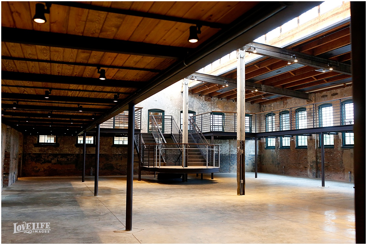The interior of The Winslow Room retains the historic industrial feel but is functional for events.