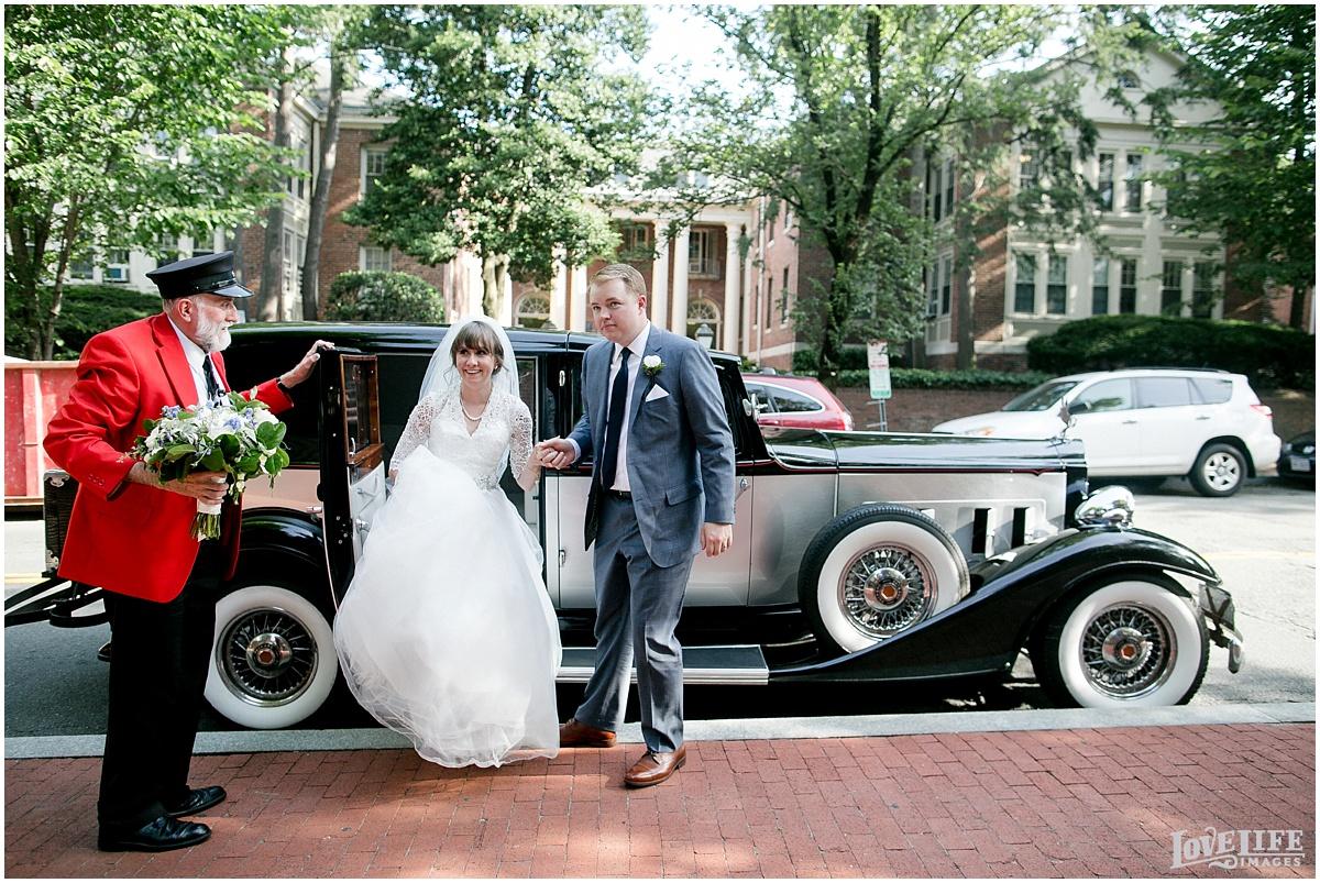 Dumbarton House DC Wedding vintage car arrival.jpg
