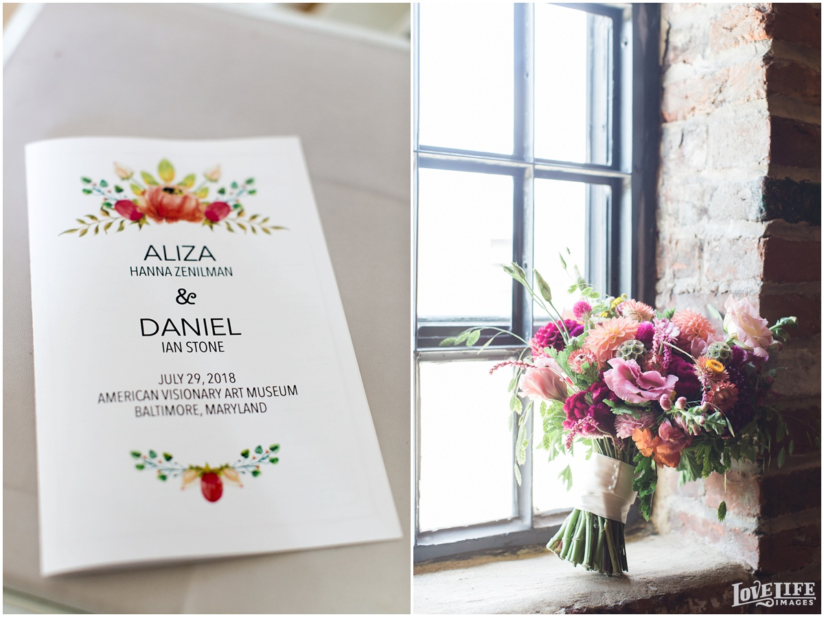 AVAM Baltimore Wedding program and bouquet.jpg