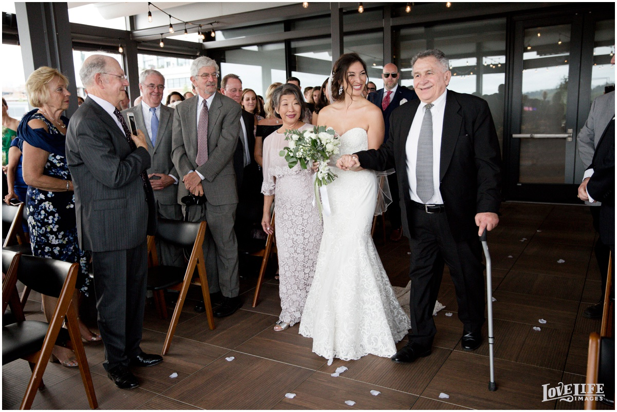 District Winery Fall DC wedding bridal processional with parents.JPG