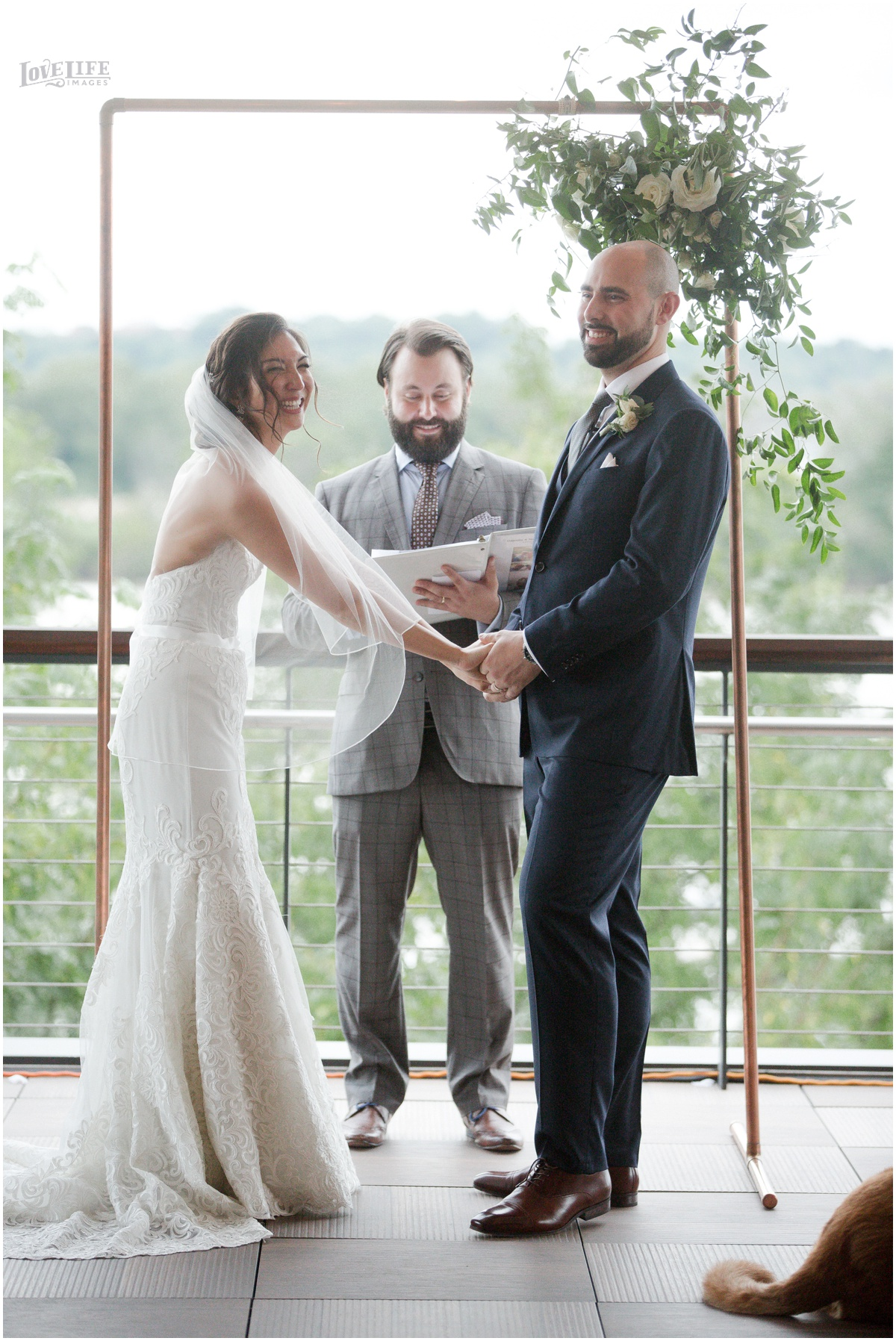 District Winery Fall DC wedding ceremony bride groom laughing.JPG