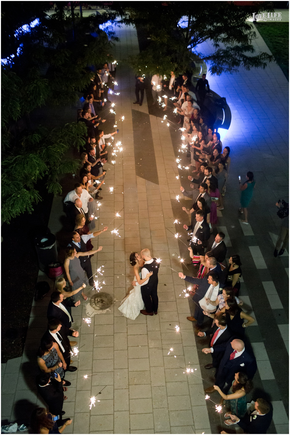 District Winery Fall DC wedding aerial sparkler exit.JPG