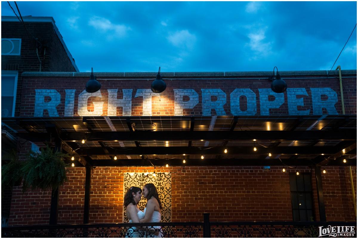 Same Sex Brewery DC Wedding nighttime portrait.jpg