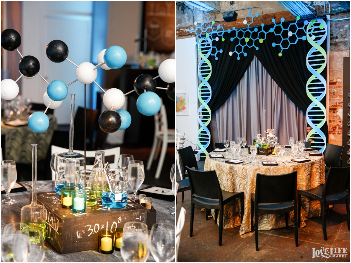 Longview Gallery Bar Mitzvah science helix decor.jpg