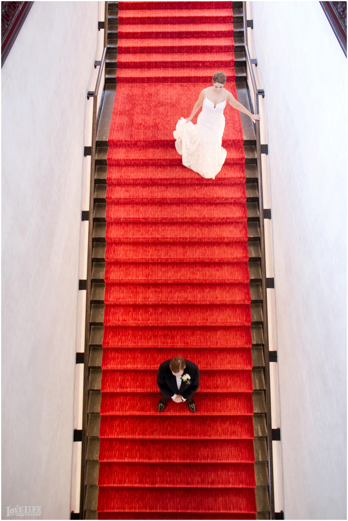 Peabody Library Baltimore Glam Wedding Sagamore Pendry staircase first look.jpg